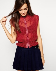 Lovestruck Melina Crop Shirt In Polka Dot Burgundy