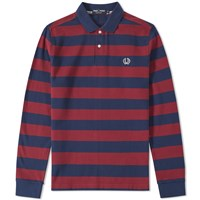 Fred Perry Long Sleeve Striped Polo Burgundy