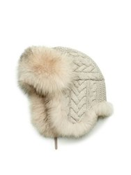 Inverni Cashmere Cable And Fox Fur Trapper Hat Beige