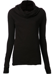 Lost And Found Draped Hood Top Black