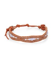 Chan Luu Blue Lace Agate And Leather Bracelet