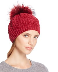 Echo Beret With Asiatic Raccoon Fur Pom Pom Painter Red
