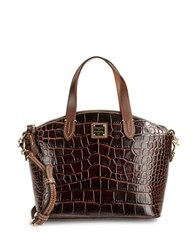 Dooney And Bourke Small Crocodile Embossed Leather Satchel Brown T'moro