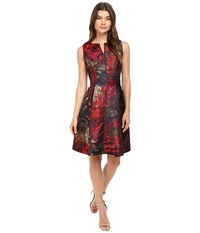 Rsvp Minnie Sleeveless Fit And Flare With Split Neckline Lipstick Women's Dress Red