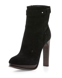 Cnc Costume National Pointed Toe Platform Suede Ankle Boot Black