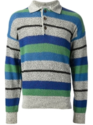 Missoni Vintage Striped Polo Shirt Blue