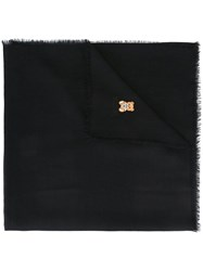 Moschino Frayed Bear Embroidered Scarf Black