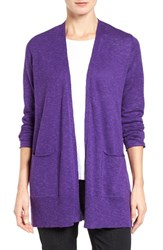 Eileen Fisher Women's Organic Linen And Cotton Open Front Cardigan Ultra Violet