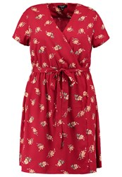 New Look Curves Rosemary Summer Dress Red Pattern
