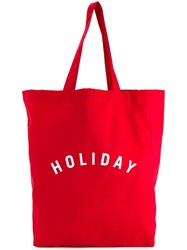 Holiday Logo Print Tote Red