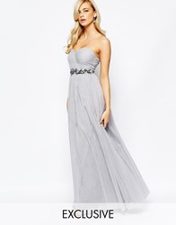 Little Mistress Bandeau Embellished Maxi Dress With Tulle Skirt Grey