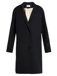 Christophe Lemaire Single Breasted Wool Gaberdine Coat Navy