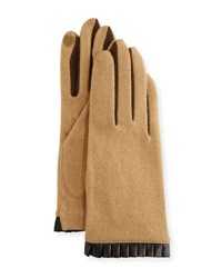 Portolano Cashmere Blend Leather Cuffed Tech Gloves Camel Brown