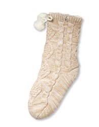 Ugg Pom Pom Fleece Lined Crew Sock Cream