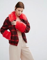 Urbancode Checked Bomber Jacket With Faux Fur Collar And Cuffs Red