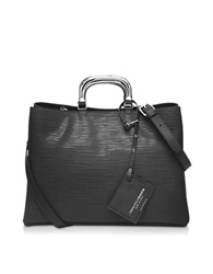 Francesco Biasia Barbican Embossed Leather Handbag Black