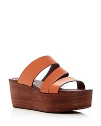 See By Chloe Strappy Platform Slide Sandals Brown