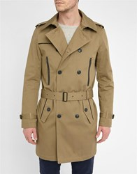 Ikks Beige Leather Detail Zipped Trench Coat