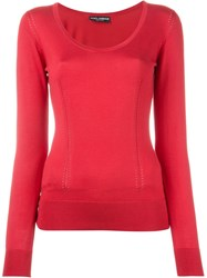 Dolce And Gabbana Perforated Panelled Top Red