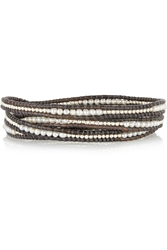 Chan Luu Silver Pearl And Leather Five Wrap Bracelet