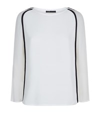Maje Lesley Contrast Piping Crepe Top Female White