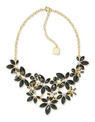 Anne Klein Flower Bib Jet Epoxy Stone Necklace Black