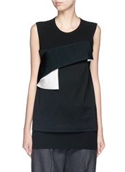 Toga Archives Elastic Band Slub Cotton Jersey Tank Top Black