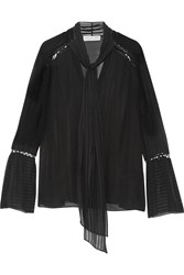 Rachel Zoe Laurie Pussy Bow Embroidered Silk Chiffon Blouse Black