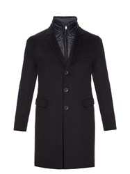 Herno Detachable Collar Single Breasted Cashmere Coat Navy