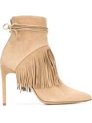Bionda Castana Fringed Ankle Boots Nude And Neutrals