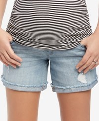 Motherhood Maternity Frayed Denim Shorts Light Wash Denim
