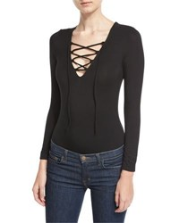 Little Black Bodysuit Lace Up Long Sleeve Black