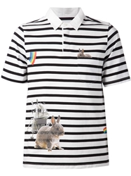 Band Of Outsiders Bunny Print Striped Polo Shirt White