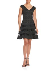 Aidan Mattox Mesh Accented Fit And Flare Dress Black Silver