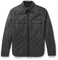 Rag And Bone Grant Slim Fit Quilted Wool Blend Flannel Jacket Gray