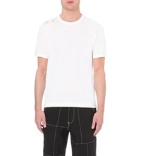 Comme Des Garcons Padded Zig Zag Cotton T Shirt White