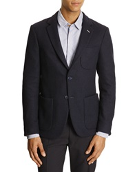 Gant Unconstructed Blue Jersey Wool Jacket With Patch Pockets