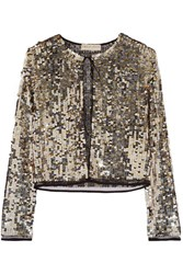 Emilio Pucci Sequined Tulle Jacket Gold