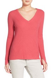 Women's Velvet By Graham And Spencer Ribbed Cashmere V Neck Sweater
