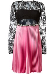 Fausto Puglisi Floral Lace Pleated Dress Black
