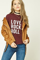 Forever 21 Love Rock And Roll Graphic Tee Wine Cream