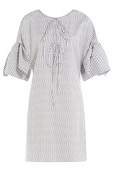Three Graces London Striped Cotton Nightgown White