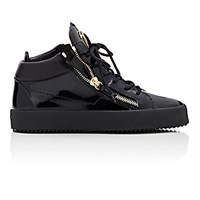Giuseppe Zanotti Men's Patent Double Zip Sneakers Black