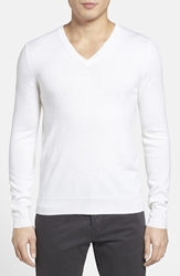Burberry 'Dockley' V Neck Wool Sweater Natural