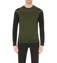 Givenchy Contrast Sleeve Wool Jumper Olive Green