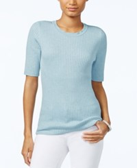 Tommy Hilfiger Ribbed Crew Neck Top Only At Macy's Heather Sky
