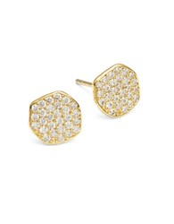 Tai Pave Stud Earrings Gold