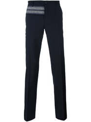 Carven Contrast Panel Classic Trousers Blue
