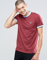 Fred Perry Ringer T Shirt In Maroon Sky Blue Mar Sky Bl Red