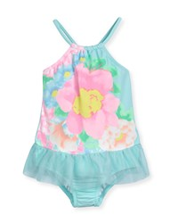 Seafolly Spring Bloom Floral One Piece Swimsuit Crystal Blue